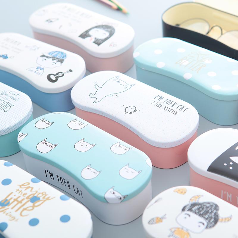 包邮大近视眼镜盒女韩国小清新简约复古创意可爱学生马口铁墨镜盒