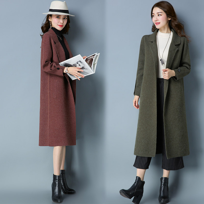 Spring and autumn 2020 new womens cardigan medium length thickened loose wool coat knitting cashmere sweater coat fashion