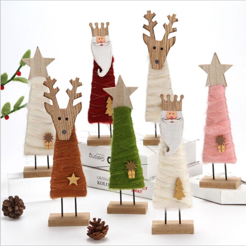 羊毛毡木质圣诞树老人雪人桌面布置摆件商场店铺橱窗装饰场景布置