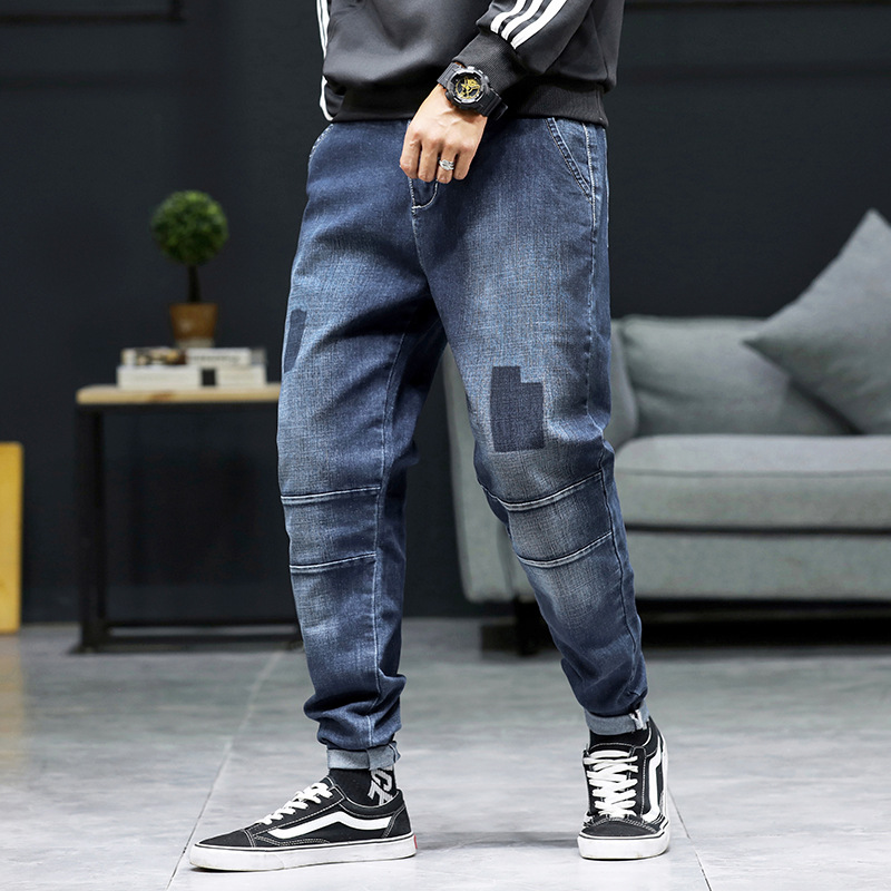 Look for Kabin casual mens jeans spring new plus size fat Harun pants tie foot small foot casual youth