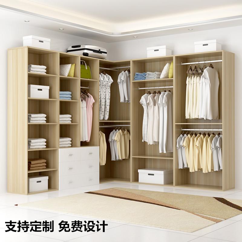实木简易衣柜简约现代经济型组装定制衣帽间衣柜卧室家具转角柜子