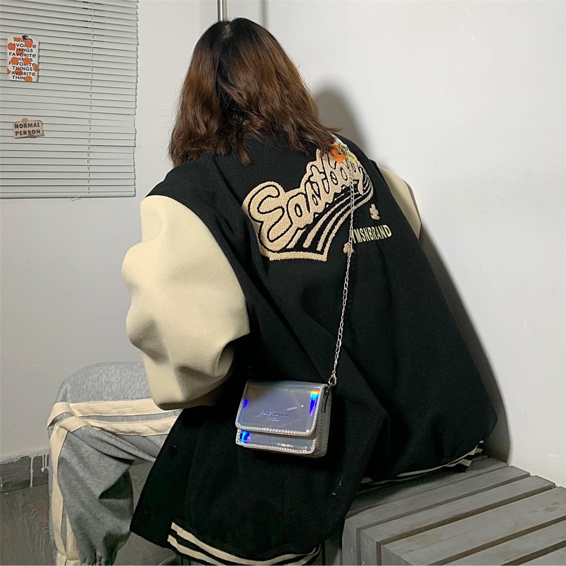 呢子外套女vintage美式棒球服秋冬加厚复古港味毛呢夹克ins潮棉衣