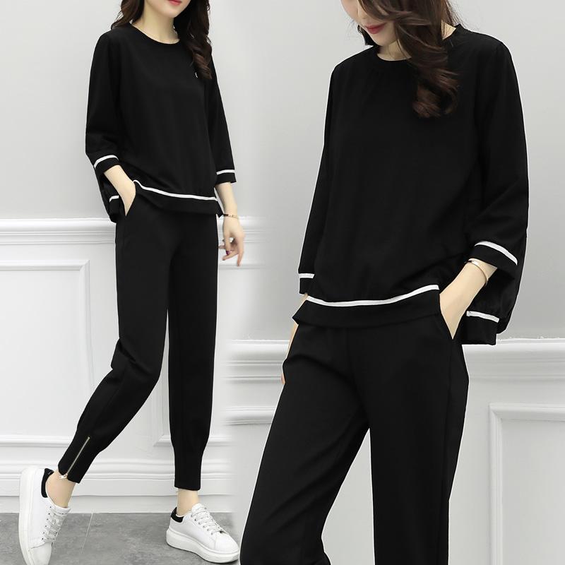 2018秋季新款女装时尚套装女韩版宽松显瘦气质休闲运动港味两件套