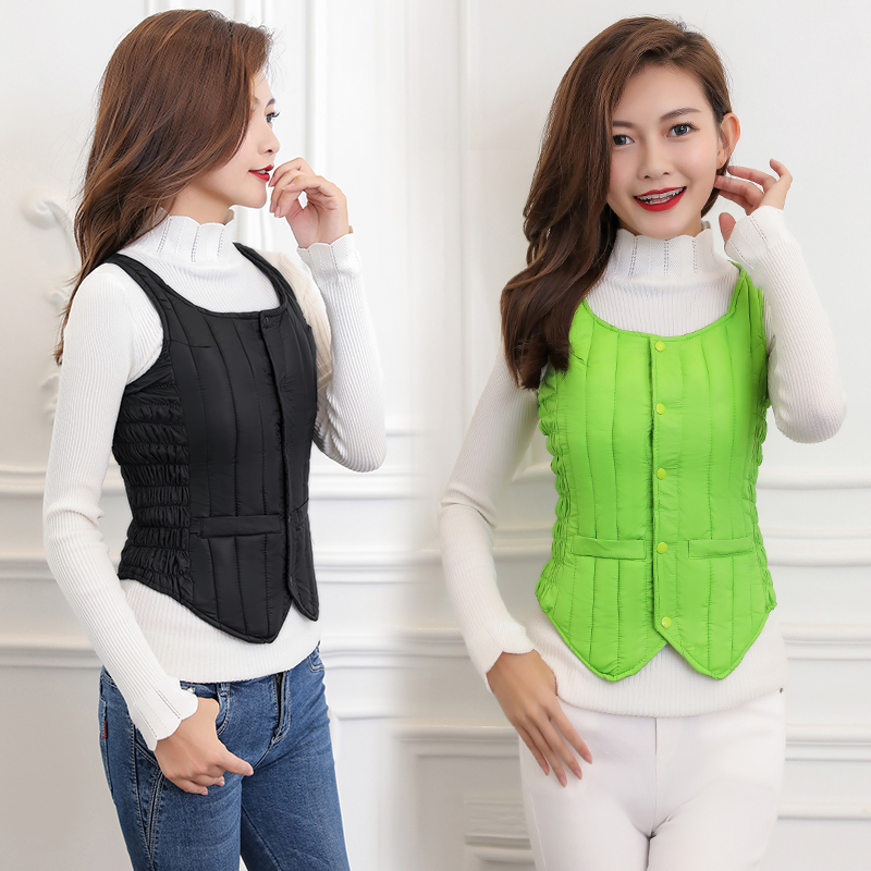 Autumn and winter vest womens down cotton jacket short fashion light and thin, waistcoat, shoulder, student warm coat inner liner