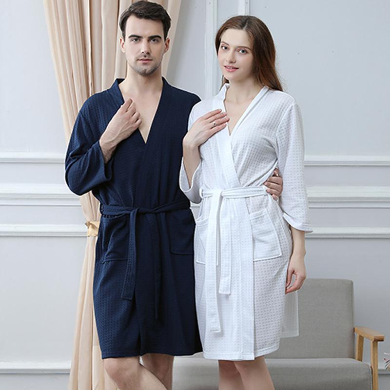 Mens and womens summer thin ice silk bathrobe 7-sleeve lovers sexy bathrobe beauty salon large medium length bathrobe