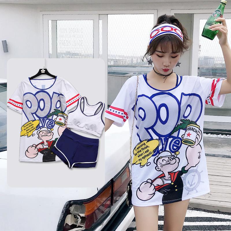 泳衣女分体式保守三件套2020年新款韩国温泉ins风遮肚显瘦游泳装
