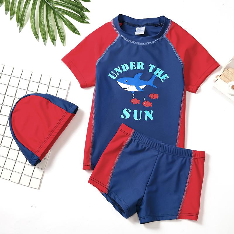 (用5元券)男童分体防晒套装中大童卡通泳裤