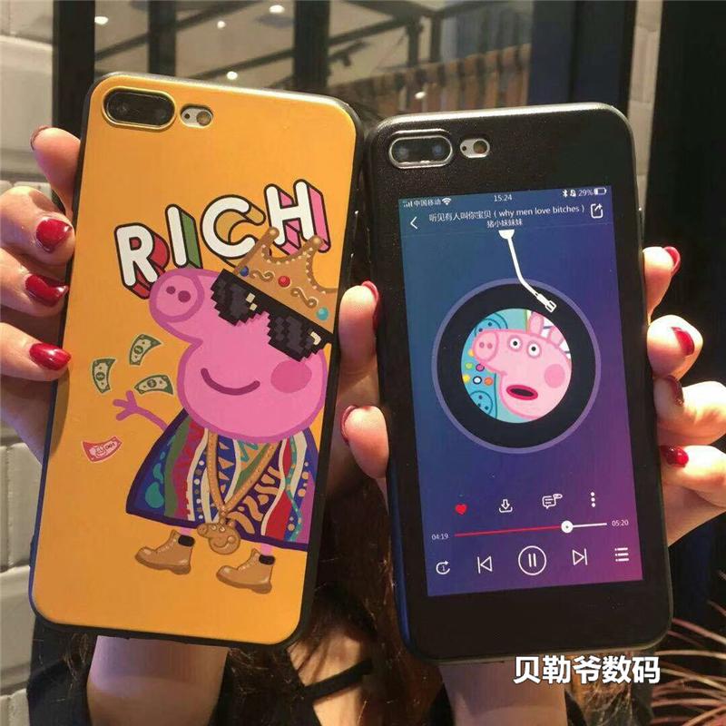 抖音同款 社会人小猪佩奇iphoneX手机壳苹果6s\/7plus8代卡通女款