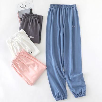 睡裤女士纯棉春夏居家长裤针织收口全棉大码宽松薄款家居裤可外穿
