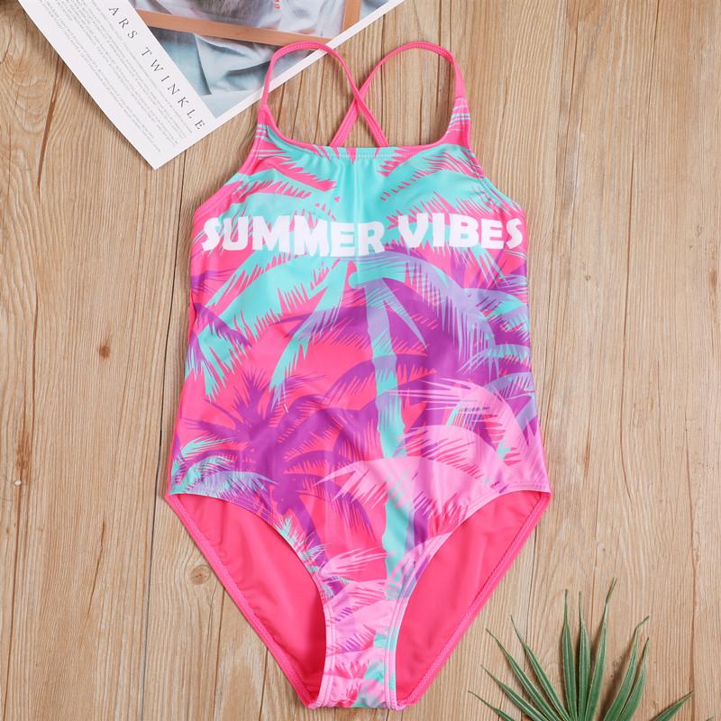 2019新款瑞典品牌儿童连体泳衣女孩泳装中大童时尚椰树印花学生女