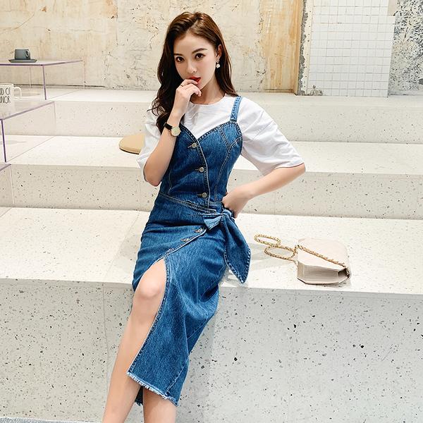 TS12991#有视频!韩版时尚牛仔裙夏季新复古气质收腰开叉蝴蝶结连衣裙