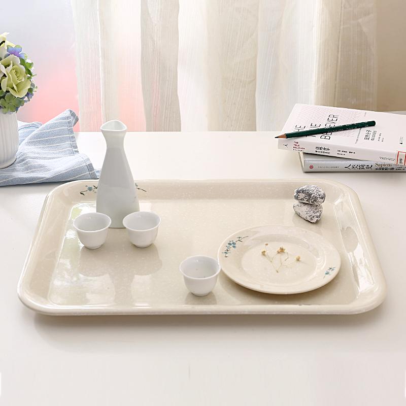 揚格密胺托盤家用麵包茶盤長方形塑料歐式水杯水果盤 仿瓷餐具