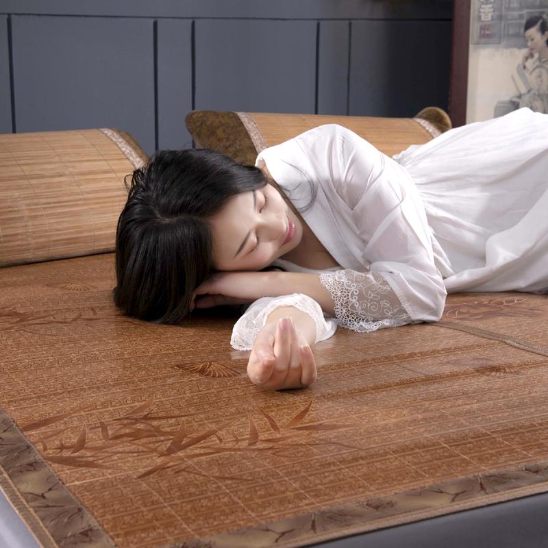 夏季竹席凉席1.8m米双面可折叠单双人学生宿舍冰丝藤席三件套1.5m(非品牌)