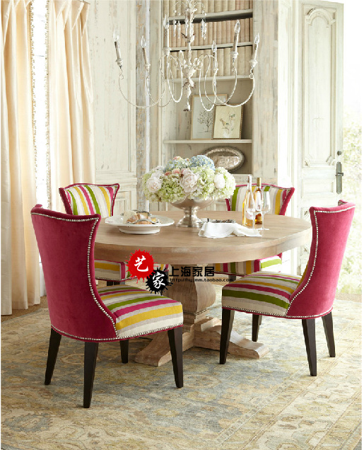 Foreign trade American Rural retro dining table French solid wood dining table chair combination European dining chair hotel club furniture