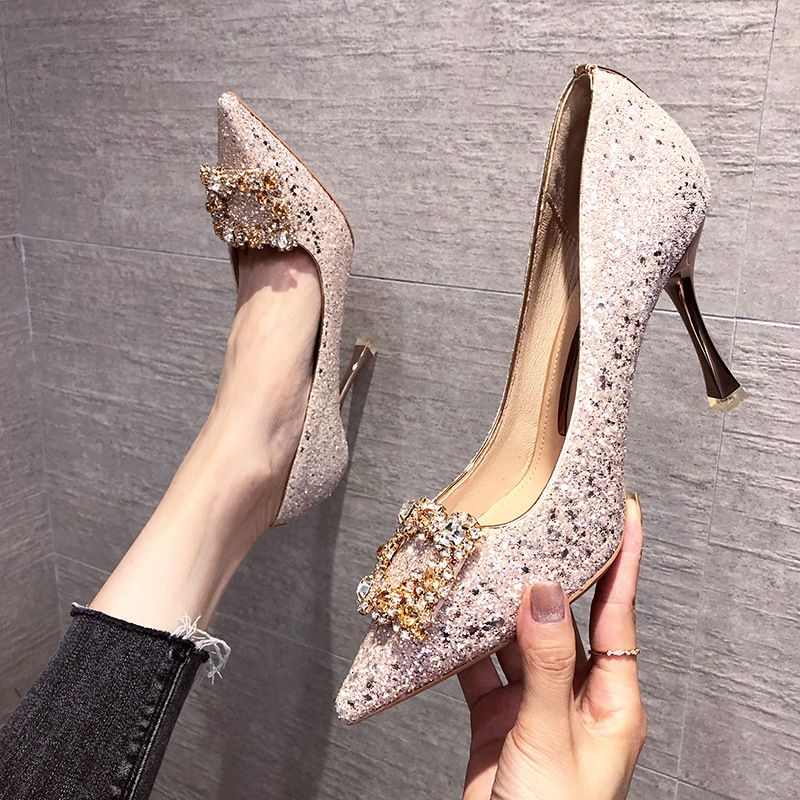 Autumn dinner party Rhinestone high heels thin heels crystal wedding shoes bridal shoes Bridesmaid shoes Korean pointed womens shoes