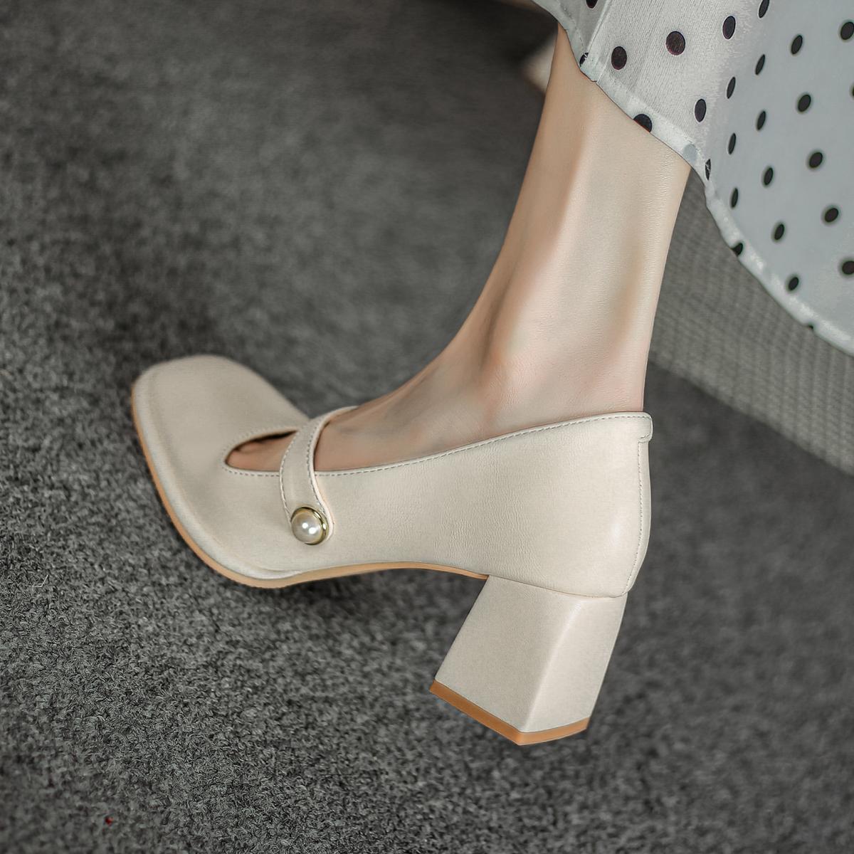 FXSO方巷大叔 粗跟玛丽珍鞋女2021春季新款复古高跟鞋赫本风单鞋