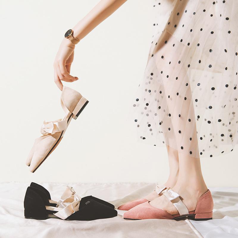 单鞋女2019秋款百搭平底尖头温柔仙女风小ck鞋低粗跟复古玛丽珍潮