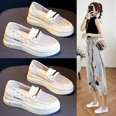 内增高小白鞋2021年新款夏季百搭一脚蹬女鞋子春夏款网面透气单鞋