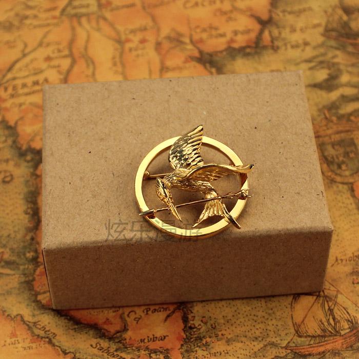 Hunger game Mockingbird badge mockingjaypin gold plated brooch tongue bird boutique di925 Silver
