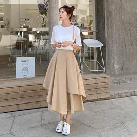 夏季韩版女装洋气时尚网红小个子轻熟风休闲阔腿裤套装裙裤两件套