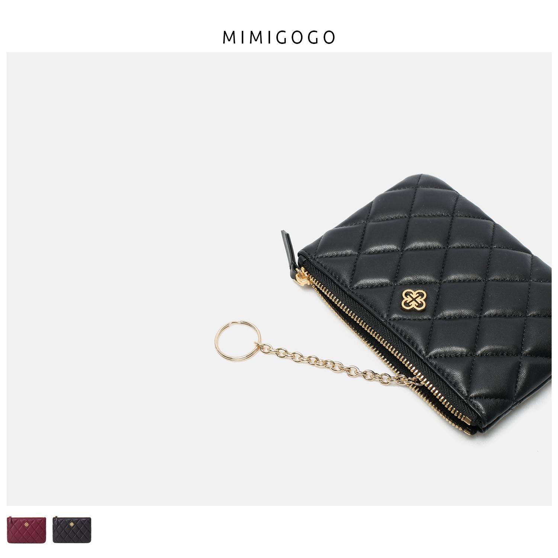 【MIMIGOGO】高端菱格系列 进口小羊皮  零钱包 真皮手工女包A013
