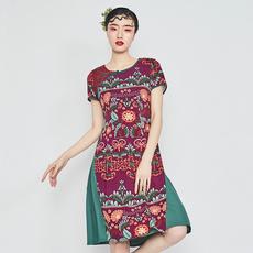 民族风棉麻盘扣修身连衣裙