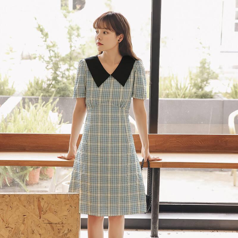 格纹娃娃领连衣裙2020年夏季新款女装短袖复古高腰气质显瘦短裙子