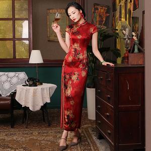 四小姐  红色高端真丝旗袍长款优雅复古中国风红色走秀旗袍