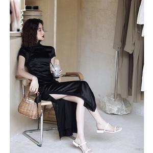 中国风复古军阀夫人黑色长款气质少女网红主播旗袍显瘦中国风