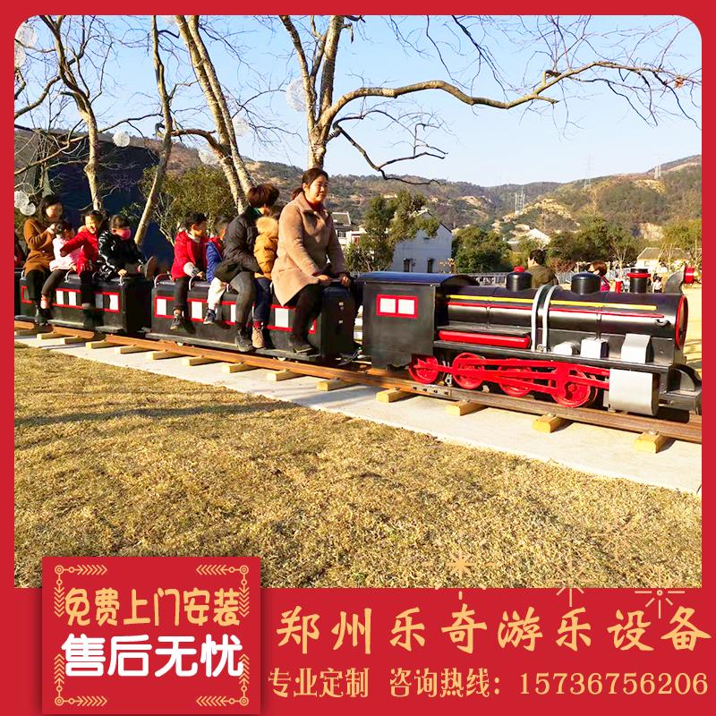 Scenic spot net red true rail small train sightseeing car amusement equipment children riding train Huahai smoky steam train