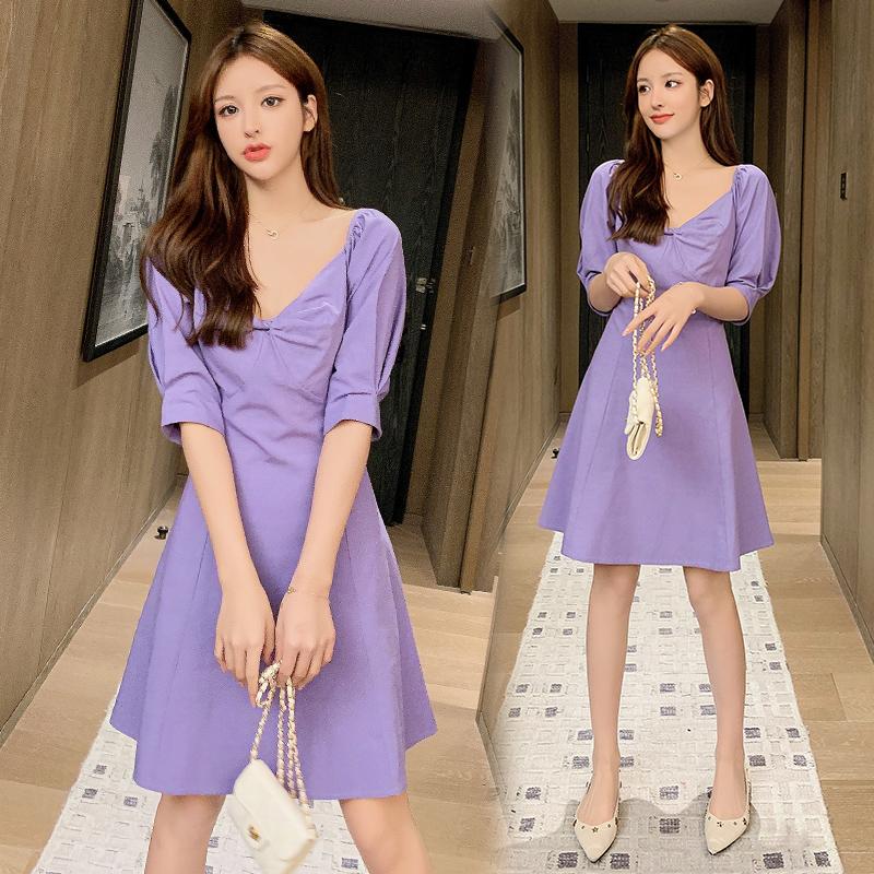 法式復古方領中長款紫色連衣裙女裝2020夏季新款桔梗裙初戀a字裙