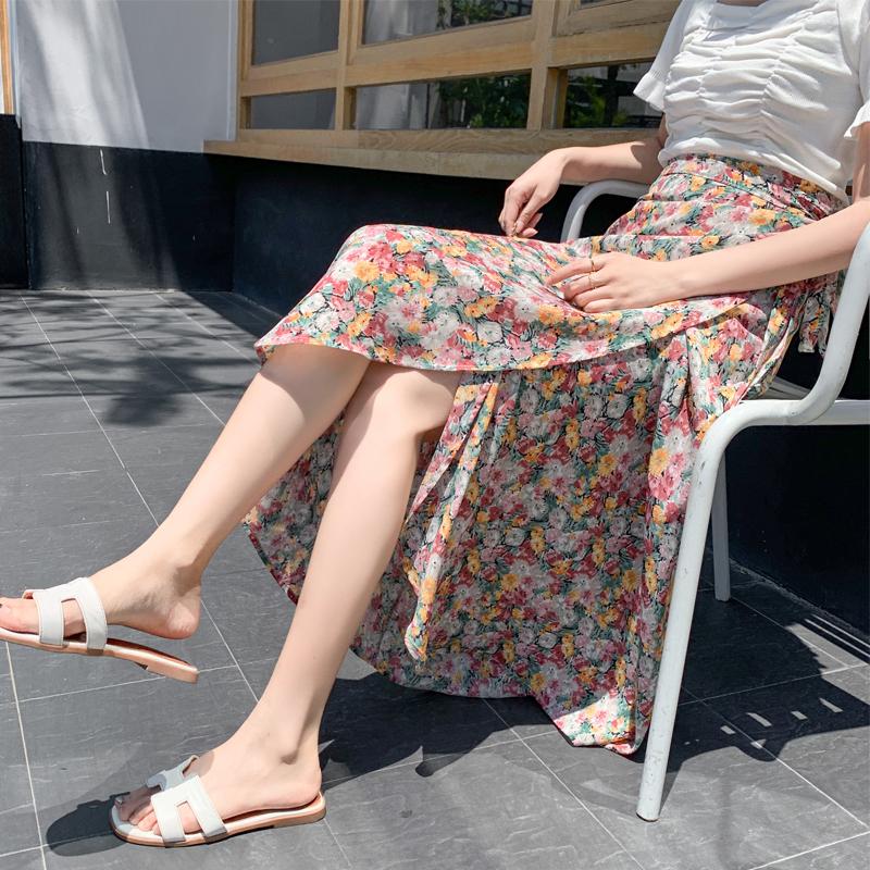 碎花半身裙女夏裝2021新款高腰系帶長裙子氣質顯瘦雪紡一片式裹裙