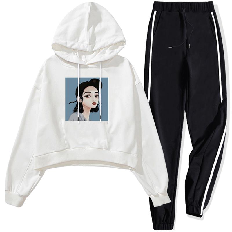 初秋季2018新款运动套装女时尚韩版学生冬休闲服加绒卫衣两件套潮