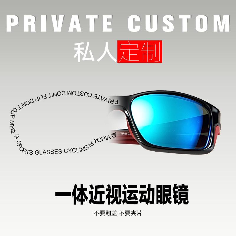高特定制近视偏光太阳镜山地车自行车防风骑行茶色运动眼镜TR6803