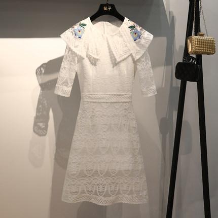 FEIZI 法式连衣裙女夏季2020新款胡冰卿同款度假裙蕾丝刺绣沙滩裙