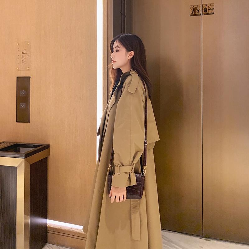 妃子风衣女中长款秋季新款时尚减龄西装领系带收腰显瘦小个子外套