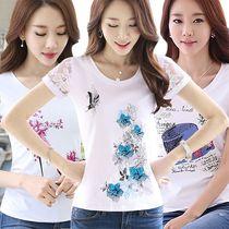 短袖t恤女夏季新款蕾丝半袖印花圆领打底衫修身白色大码女装上衣