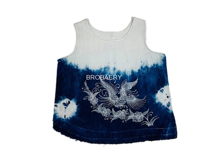 Brocaery bobari Guizhou Miao plant blue tie dye bird pattern batik art leisure vest