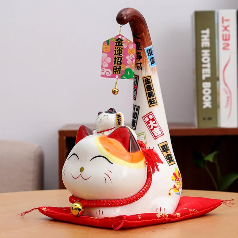 招财猫摆件 家居客厅日式发财猫 店铺开业收银台招财进宝创意礼品