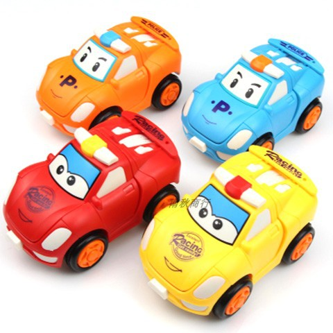 Chebao four brothers toy childrens inertia return car 1-6-year-old boy deformation robot police car model