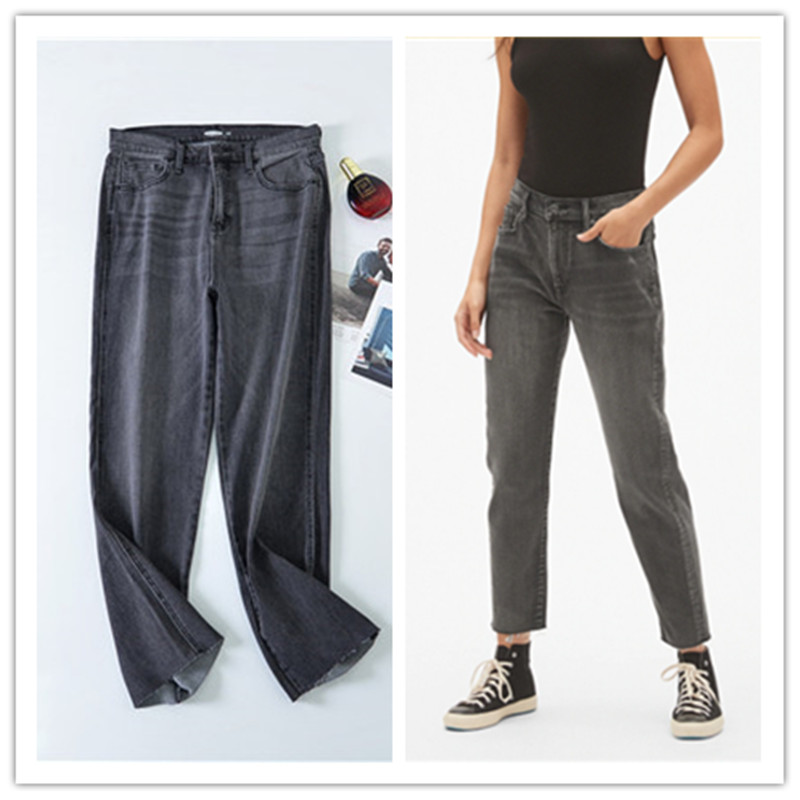 Export to American single spring and autumn summer woollen Capris boyfriend high waist loose stretch large Straight Jeans Girl