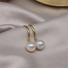 天然淡水珍珠耳钩耳勾耳环耳坠送妈妈s925纯银短款女超大颗气质真