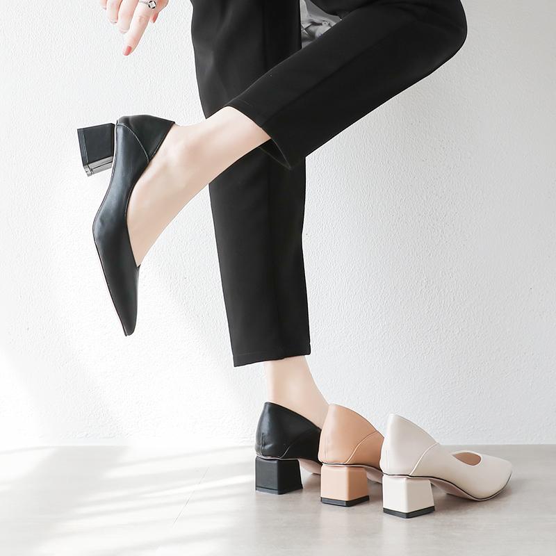 粗跟单鞋女2019夏款中跟玛丽珍尖头奶奶鞋软皮两穿新款高跟鞋