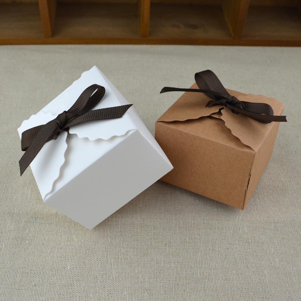 牛皮纸包装盒礼品盒简约ins风 烘焙食品糖果饼干小号生日礼物10套