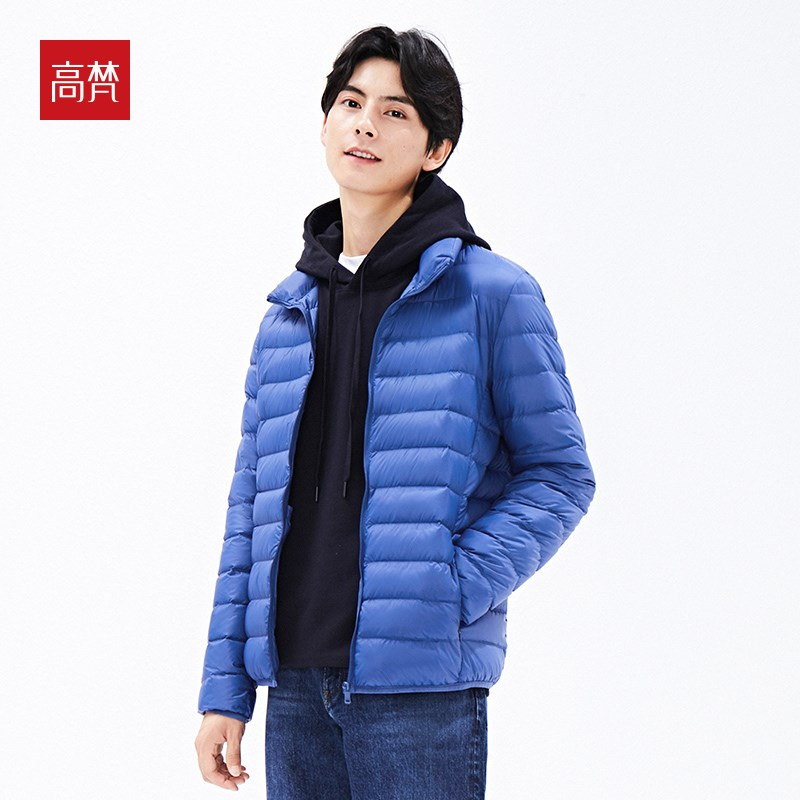 Gofan 2019 new down jacket mens short hooded fit warm and cold proof down jacket light sport coat