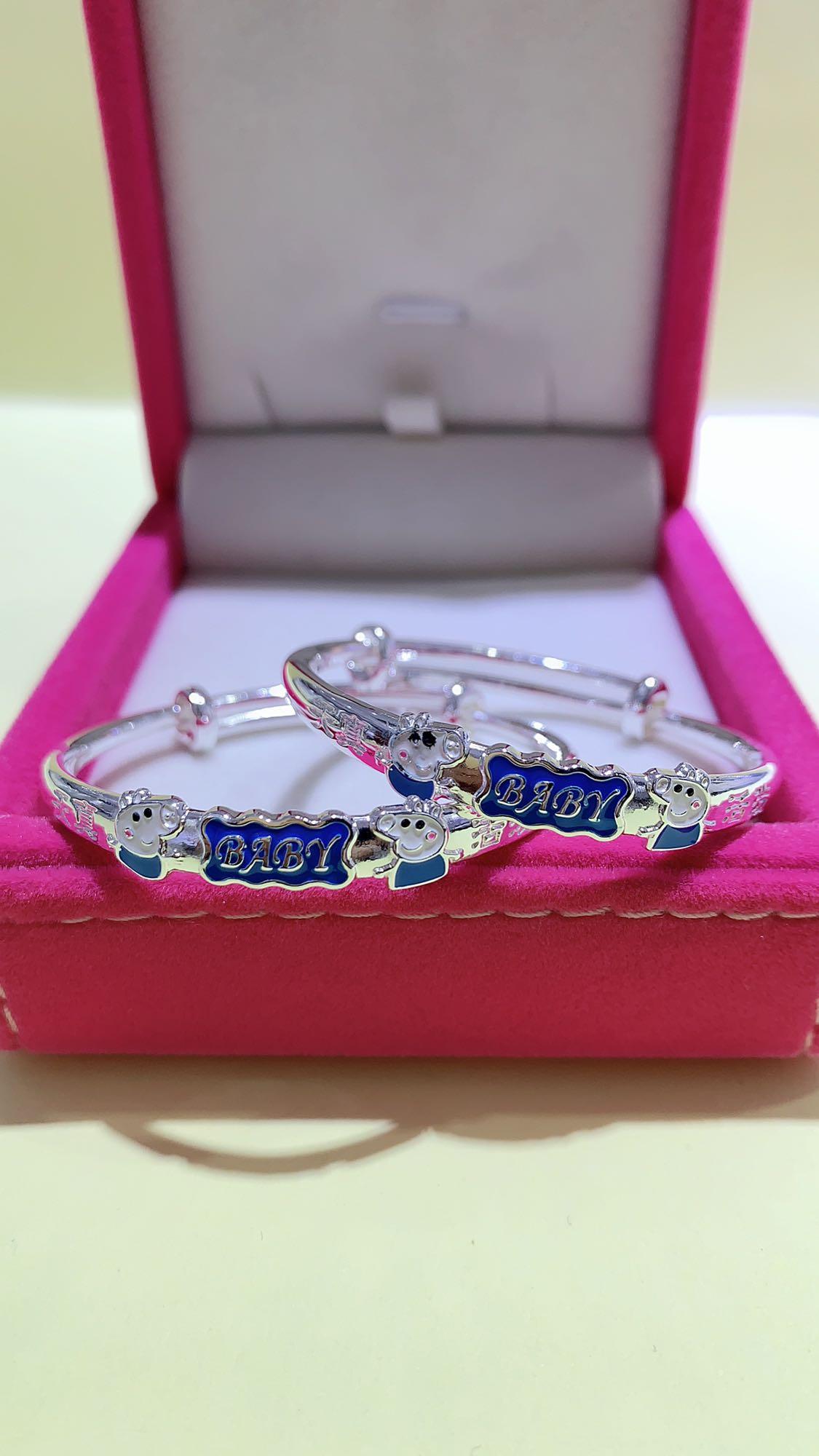Pure silver children pig cartoon page Bracelet full moon 999 foot silver birthday baby Silver Bracelet
