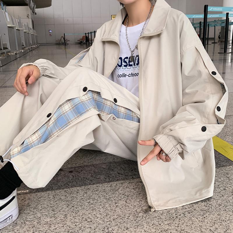 Autumn 2021 new casual sports Plaid contrast suit button pants jacket two-piece set