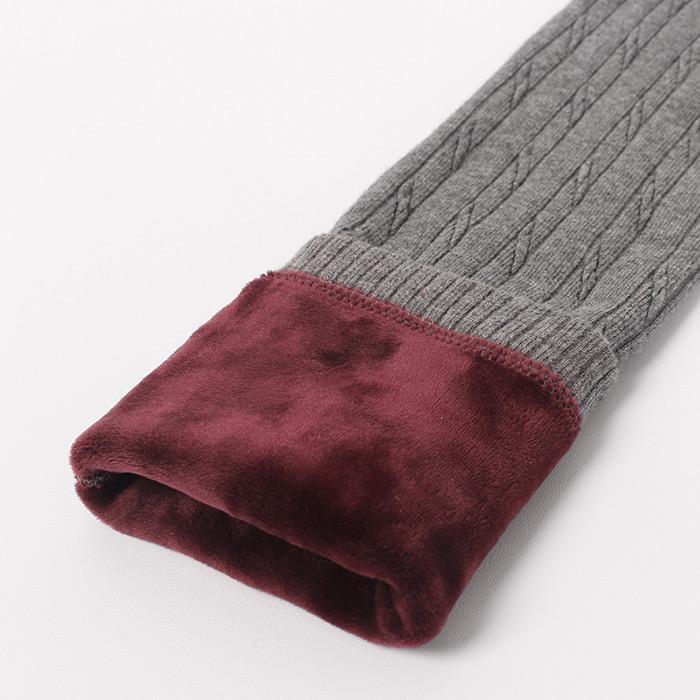 秋冬款雙層針織毛線麻花打底褲外穿加絨加厚打底褲小腳褲女保暖褲
