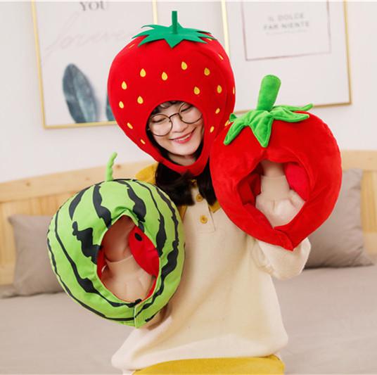 ins可爱西瓜头套帽子少女心搞怪水果帽年会派对活动表演道具