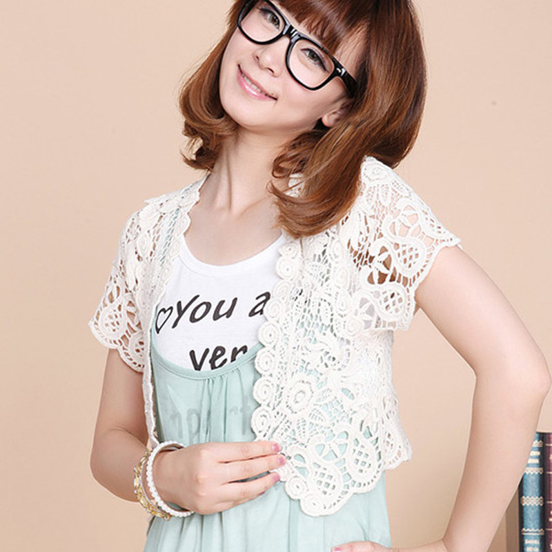 Корейская версия тонкие летние платья с короткими рукавами вне небольшая шаль полупальто крюк цветок ажурное вязание кружева малых рубашка
